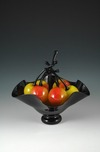 Donald Carlson Donald Carlson Black Footed Bowl with 7 Yellow Cherries