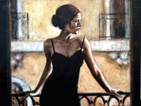 Fabian Perez Fabian Perez Brunette At The Balcony