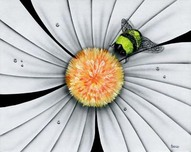 Michael Godard Art & Prints Michael Godard Art & Prints Bumble Bee, White Daisy Flower (AP)