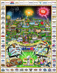 Charles Fazzino Art Charles Fazzino Art Celebrating 50 Years of Super Bowl (Poster)