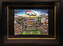 Charles Fazzino Art Charles Fazzino Art Denver Broncos (Super Bowl 50) - Framed