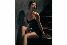 Fabian Perez Fabian Perez Girl With Red at Stairs II