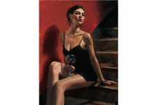 Fabian Perez Fabian Perez Girl with Red at Stairs Red Wall