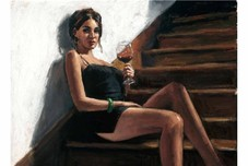 Fabian Perez Fabian Perez Girl with Red at Stairs