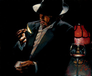 Fabian Perez Fabian Perez Man Lighting Cigarette II