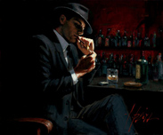 Fabian Perez Fabian Perez Man Lighting Cigarette III