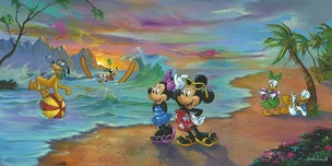 Jim Warren Fine Art Jim Warren Fine Art Mickey and the Gang's Hawaiian Vacation