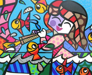 Romero Britto Art Romero Britto Art Neptune's Daughter