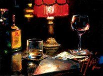Fabian Perez Fabian Perez Noches de Malavida con Whiskey and Wine