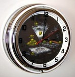 Michael Godard Art & Prints Michael Godard Art & Prints Neon Clock - Olive Party