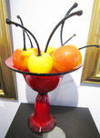 Donald Carlson Donald Carlson Red Chalice Bowl with 7 Cherries