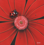 Michael Godard Fine Art Michael Godard Fine Art Red Lady Bug (18 x 18) blue butterfly