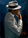 Fabian Perez Fabian Perez Smoking Under the Light White Suit
