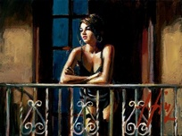 Fabian Perez Fabian Perez Study for Saba at the Balcony VI