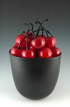 Donald Carlson Donald Carlson Black Sandblasted Bowl with 12 Cherries