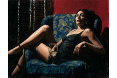 Fabian Perez Fabian Perez Vanessa in the Blue Chair with Flowers