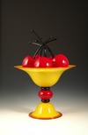 Donald Carlson Donald Carlson Yellow Pedestal Bowl with 7 Cherries
