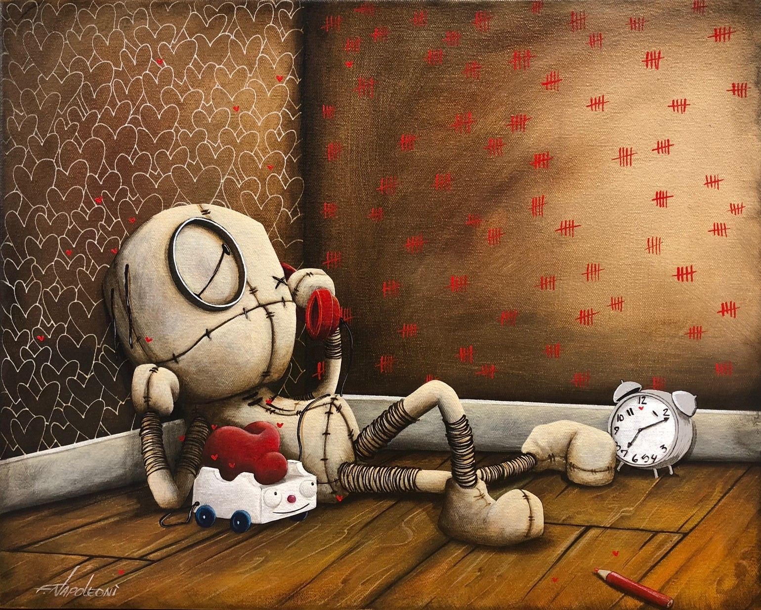 Fabio Napoleoni Counting Down the Days (Original) - Gallery Wrapped