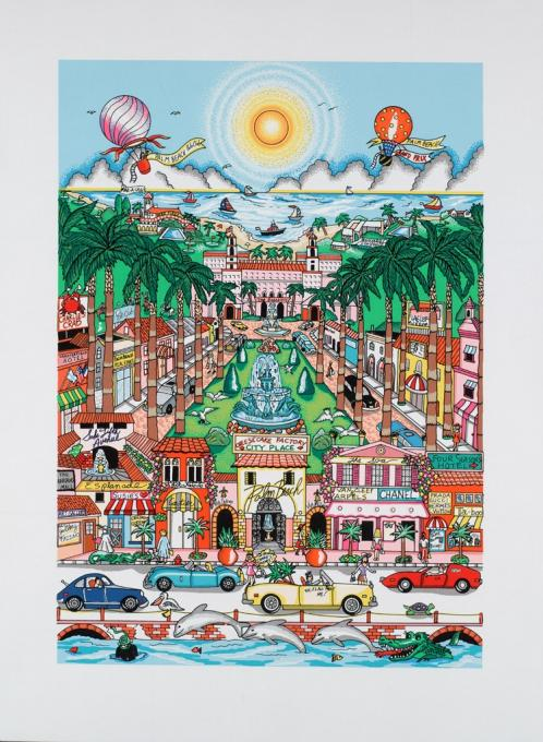 Charles Fazzino Perfectly Palm Beach (DX) - Framed