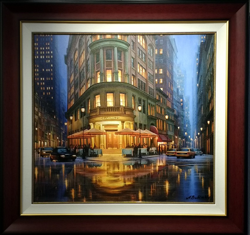 Alexei Butirskiy Summer Rain at Delmonico's (Framed)