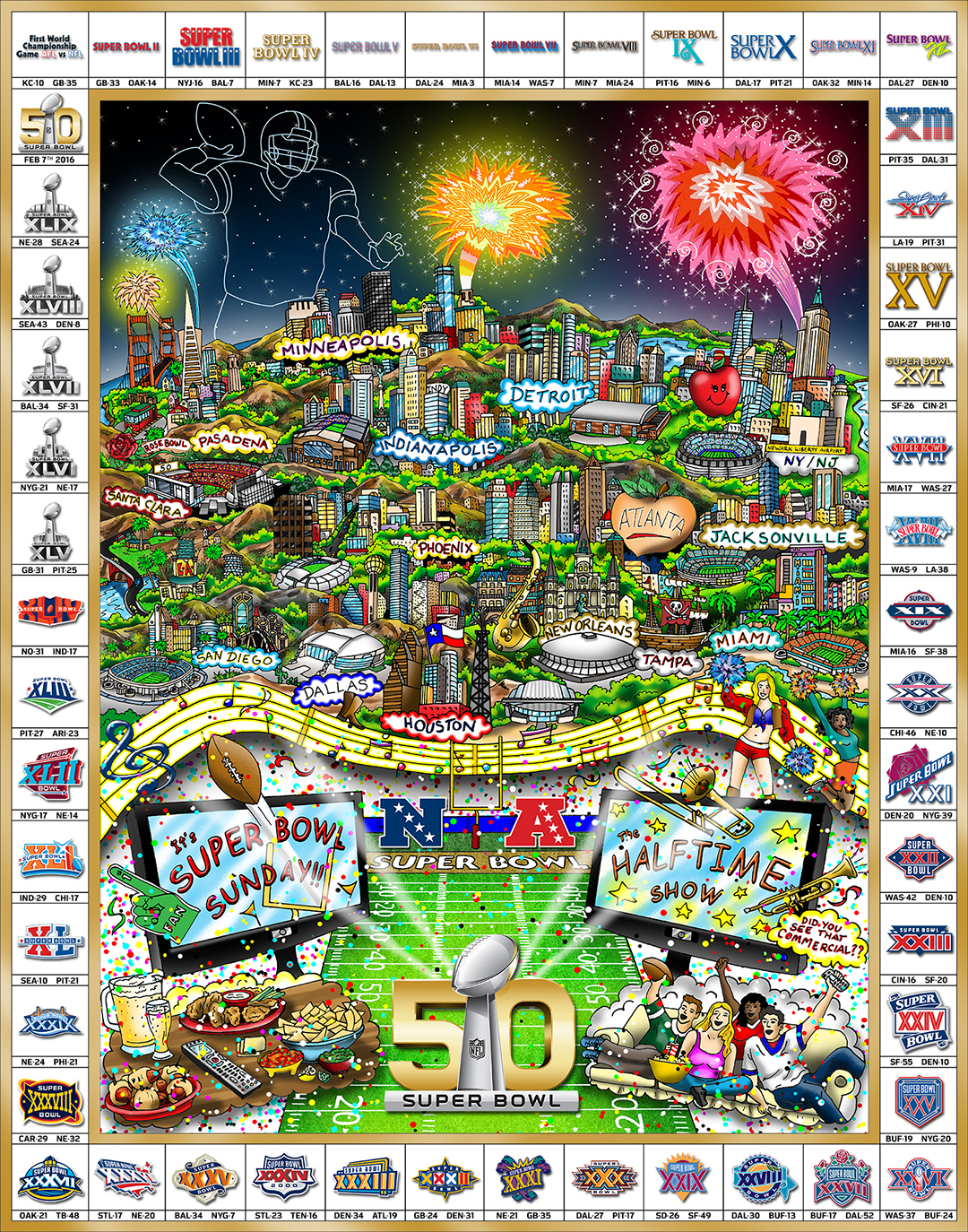 Charles Fazzino Celebrating 50 Years of Super Bowl (Poster)