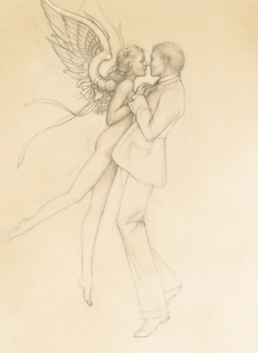 image dancing with an angel drawing michael parkes