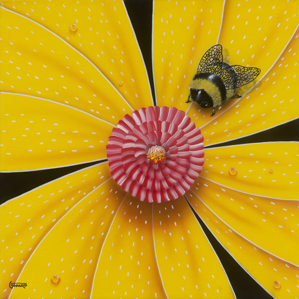 Michael Godard Bee- Colored Flower Yellow (Paper) (AP)