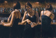Fabian Perez Limited Edition Giclee on Canvas Study For 3 Girls in Bar II