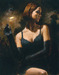 Fabian Perez Limited Edition Giclee on Canvas Black Gloves II