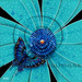 Michael Godard Limited Edition Fine Art Limited Edition Giclee on Paper Butterfly, Teal Flower