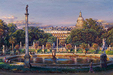 Cao Yong Limited Edition Giclee on Canvas The Luxembourg Garden II: La Fountaine