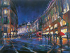 Michael Flohr Artist Limited Edition Giclee on Canvas London Rain (SN)