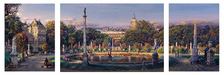 Cao Yong Limited Edition Giclee on Canvas The Luxembourg Garden Triptych