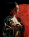 Fabian Perez Limited Edition Giclee on Canvas Michiko with Red Umbrella