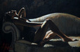 Fabian Perez Limited Edition Giclee on Canvas Paola on Couch