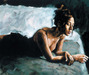 Fabian Perez Limited Edition Giclee on Canvas Renee on Bed I