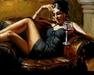 Fabian Perez Limited Edition Giclee on Canvas Red on Yellow III