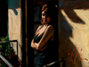 Fabian Perez Limited Edition Giclee on Canvas Saba at the Balcony with Black Dress