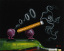 Godard Martini Art Limited Edition Giclee on Canvas Smoking Grapes (17.5 x 22)