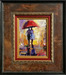 Michael Flohr Art Original Oil on Canvas Red Umbrella (Framed) Original