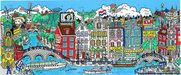Charles Fazzino 3D Art Limited Edition 3-Dimensional Serigraph Alluringly Amsterdam (DX)