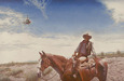 Kruger Fine Art Original Acrylic on Canvas Searching (Cowboy & Heli) (Original)