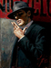 Fabian Perez Limited Edition Giclee on Canvas Man at the Red Sign