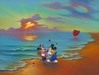 Jim Warren Fine Art Limited Edition Giclee on Canvas Mickey & Minnie's Romantic Day