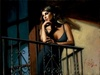 Fabian Perez Limited Edition Giclee on Canvas Saba at the Balcony VIII