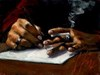 Fabian Perez Limited Edition Giclee on Canvas Study of Artist's Hands Sketching
