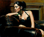 Fabian Perez Limited Edition Giclee on Canvas Tess III with Fireplace